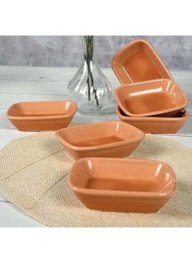 Keramika Keramika 13 cm 6 Adet Cam Göbeği Dikdörtgen Kayık Çerezlik Renkli